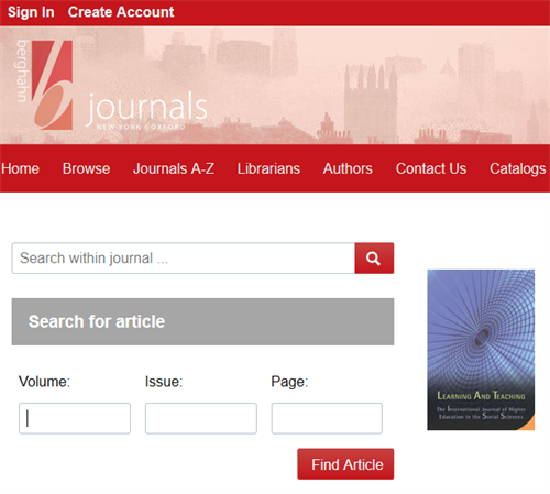 Screenshot of the journal