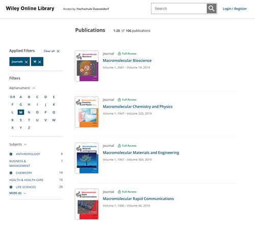 Wiley Online Library - Screenshot